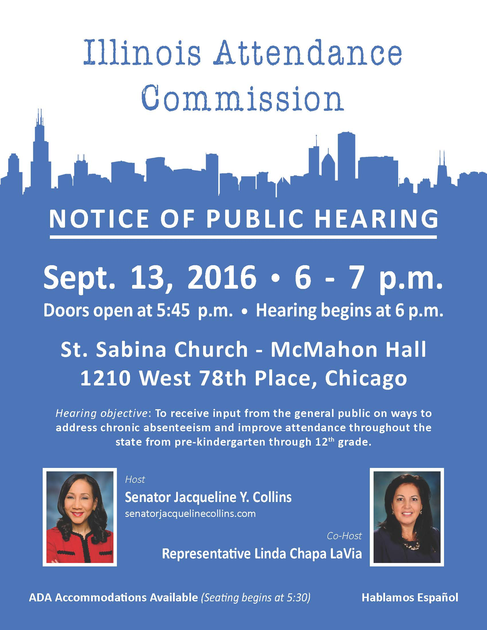 Attendance Commission hearing flyer