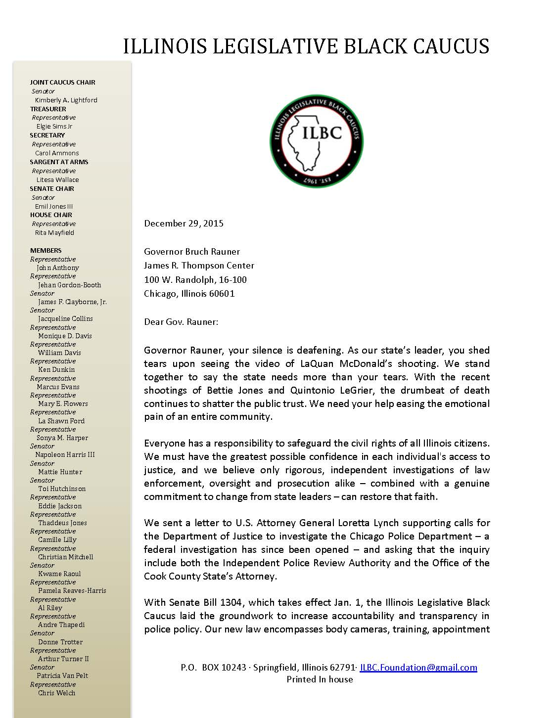 ILBC letter to Rauner police shootings Page 1